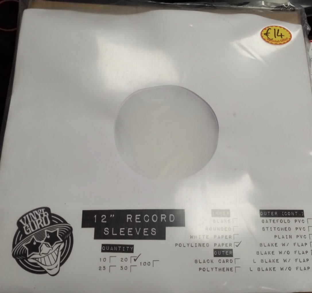 Vinyl Guru Inner Polylined Paper 12 Record Sleeve 20